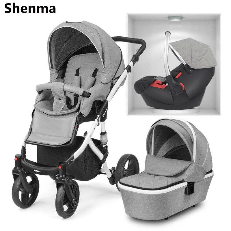 Shenma bébé poussette 2 dans 1 3 dans 1 peut s'asseoir couché double-face choc pliant portable nouveau-né cadre en aluminium multifuncti