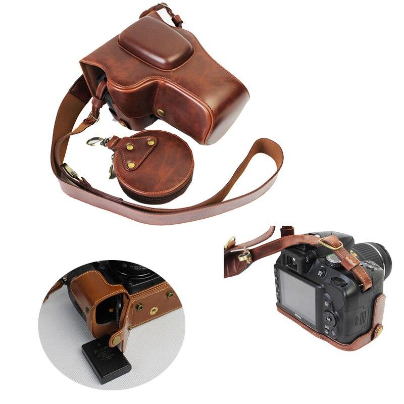 New Vintage PU Camera case En Cuir Pour Nikon D3100 D3200 D3300 D3400 18-55mm 18-105mm 18-55mm Caméra Sac Capot Ouvert Batterie