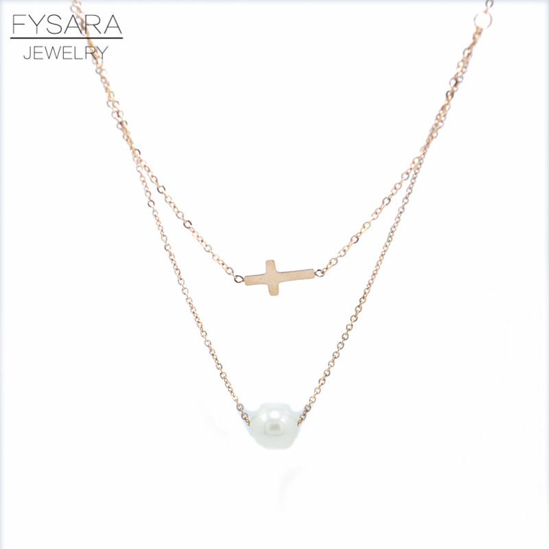 Fashion Jewelry Women Cloth Accessories Simulated Pearl Necklace Pendants Rose gold Double Link Chain Cross Necklace Clavicle