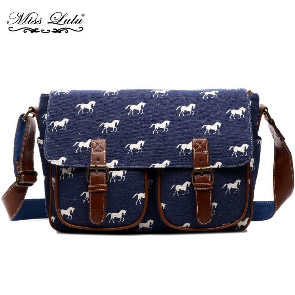 Miss Lulu Women Messenger Bags Horse Cross Body Bags for Girls Boys Canvas  Oilcloth Shoulder Bag 78a2fd0f99