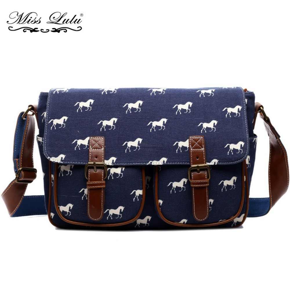 5b519835107f Miss Lulu женские сумки через плечо сумка для девочек мальчиков ЛОШАДЬ  Холст/клеенка сумка школьные