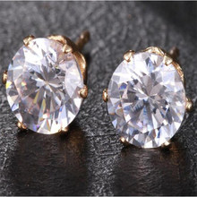 2018 New Fashion Woman Round Crystal Stud Earrings Elegant Jewelry Girls Stud Earrings for Women Round Female Earrings(China)