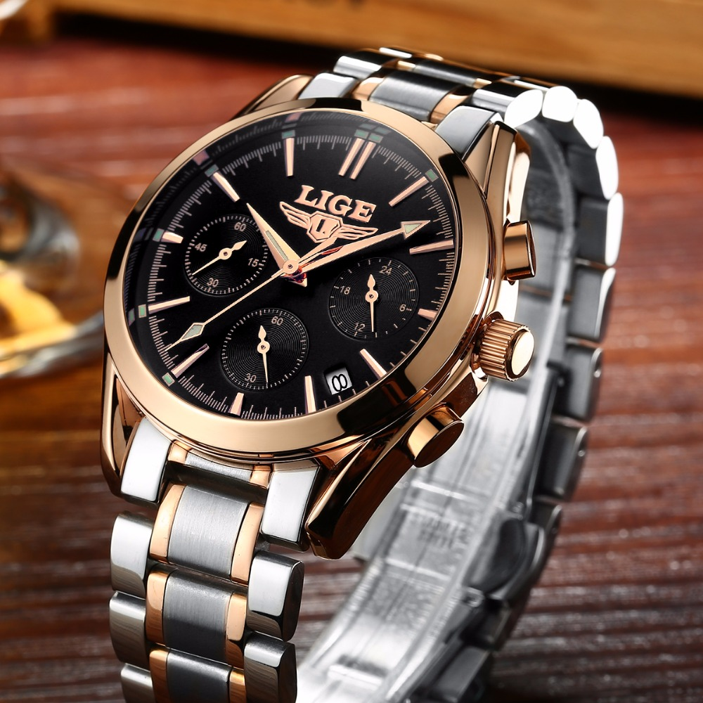 LIGE Top Luxury Brand Men Military Sport Watches Men's Quartz Clock Male Full Steel Casual Business WristWatch Relogio Masculion rosra brand men luxury dress gold dial full steel band business watches new fashion male casual wristwatch free shipping