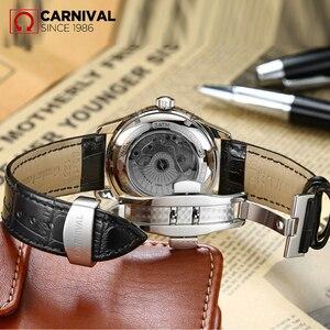 Image 2 - KARNAVAL erkek Öz rüzgar Lüks mekanik saatler Suya Dayanıklı Otomatik Klasik Deri Bilek İzle Erkekler Reloj Hombre