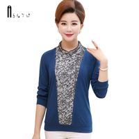 ASLTW Knitted T Shirt Women 2018 Spring Long Sleeve Tshirt Plus Size Solid Lace Splice Female T shirt