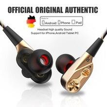 QKZ CK8 HiFi Trasduttore Auricolare Metallico Dual Dinamica Quad core Altoparlante 3.5 millimetri In Ear auricolari Cavo Flessibile con Microfono fone de ouvido