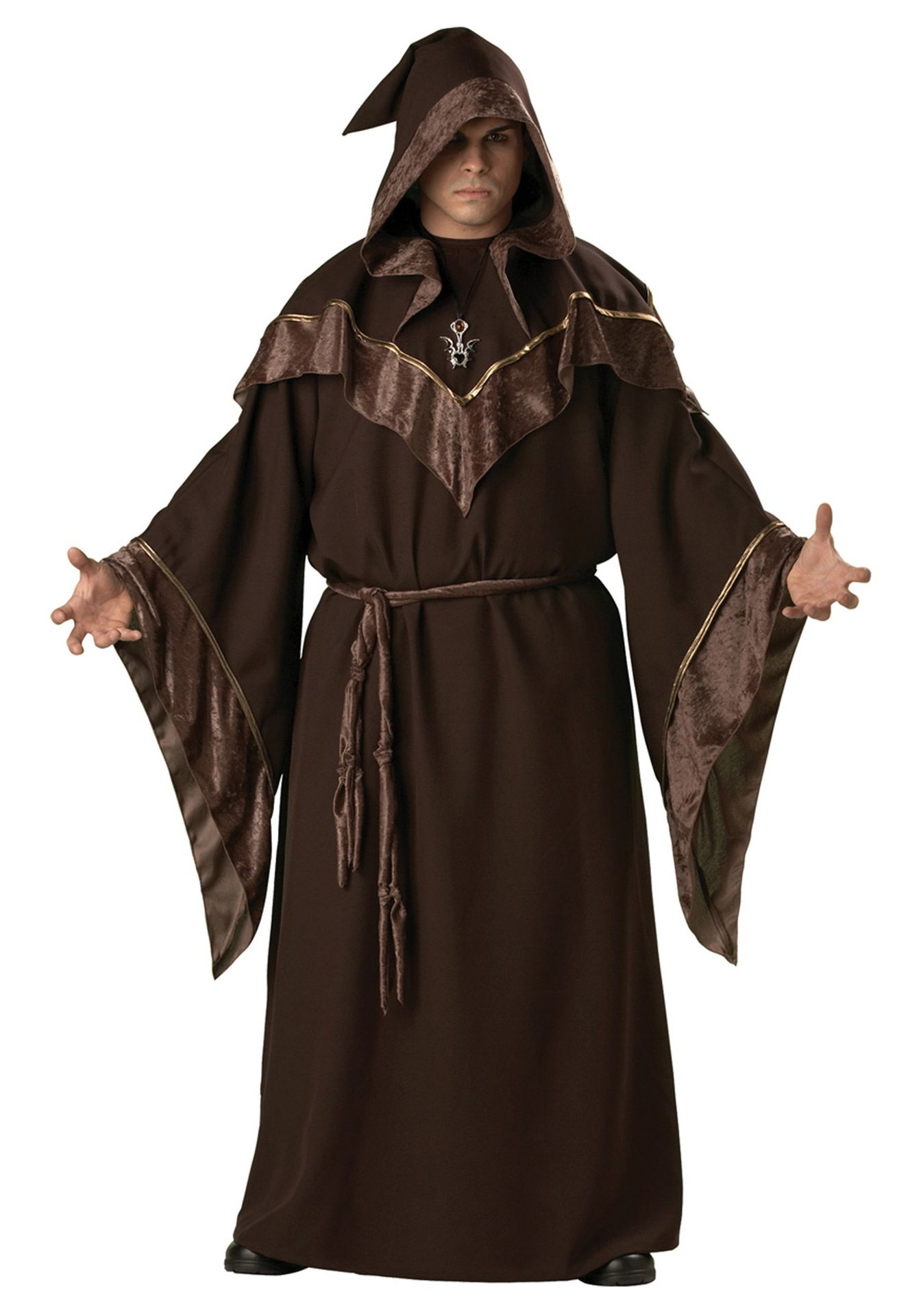 High Quality Handsome Brown Sorcerer Godfather Cosplay Costume Purim Halloween Party Wizard Priest Monk Robe For Adult Men