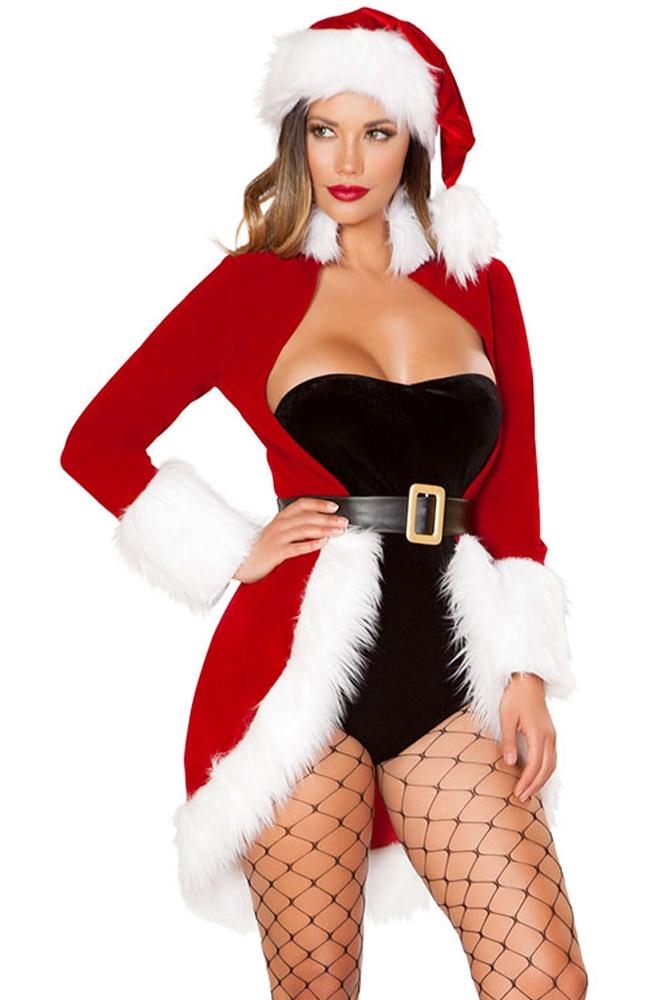 Christmas Queen Luxe Fur Trim 4pcs Costume Women Long Sleeve Outercoat Short Bodysuit with Hat Belt Christmas Costume