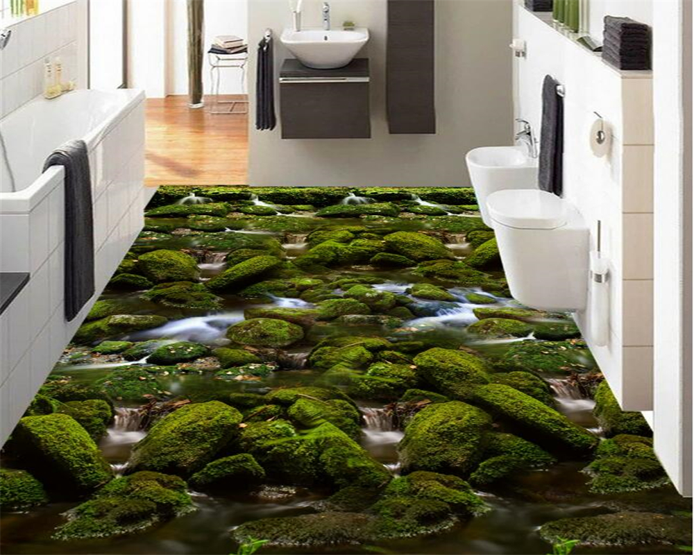 Beibehang Custom photo 3d flooring wallpaper river waterfall moss 3D wallpaper PVC self-adhesive waterproof flooring wallpaper 3d pvc flooring custom mural self adhesive waterproof floor grass river water painting picture photo wallpaper for walls 3d