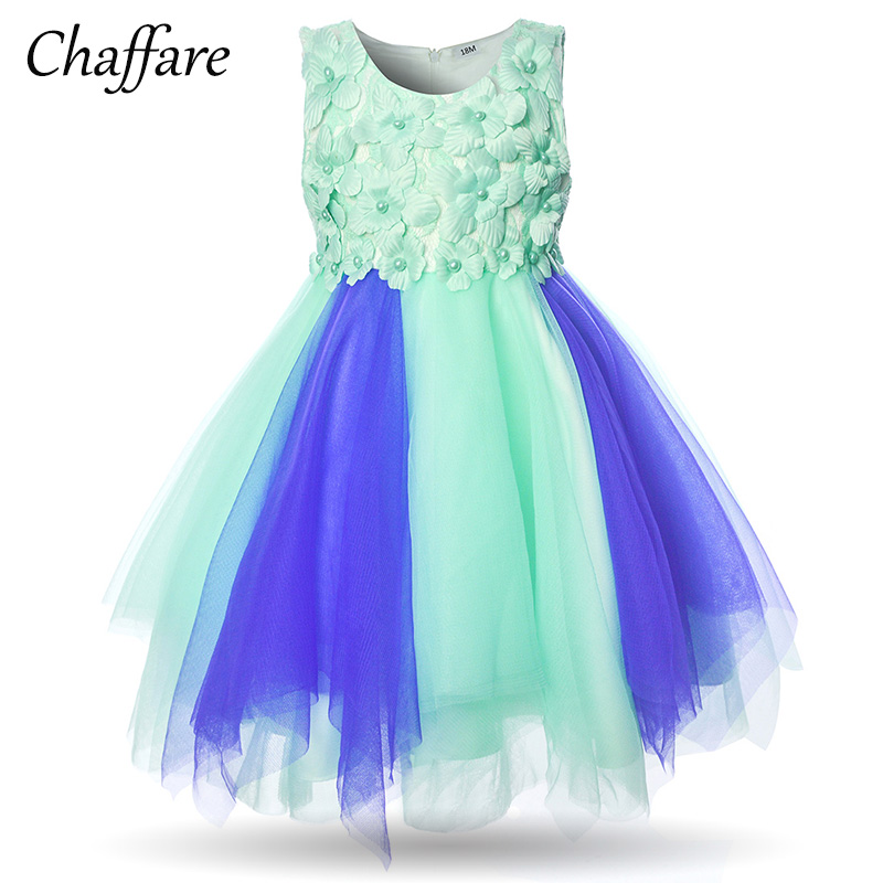 Chaffare Infant Girls Dress Flower 2018 Summer Ceremony Baby Girl Party Dresses Tulle Christening Toddler Ball Gown Floral Frock