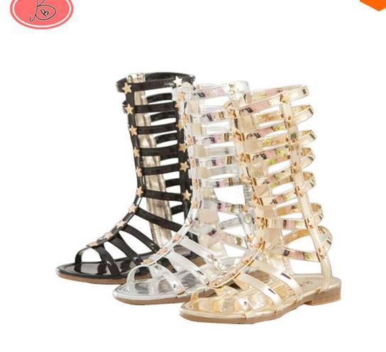 d885ee35fb0 Hot Infant Toddler Kid Children Fashion Gladiator Sandals Black Silver Golden  Baby Girl Summer Boots 2-9Years Sapatos Infantil