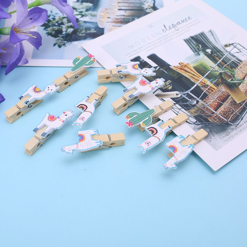 10Pcs/Set Colored Ethnic Alpaca And Cactus Printed Wooden Note Memo Photo Pegs Paper Tag Clips Holder DIY Craft With Hemp Rope - 1