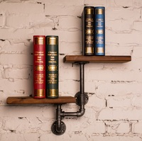 1PC New Arrival Industrial Iron Pipe Creative Double Wood Wall Hanging Kitchen Bathroom Shelves Storage Holders & Racks Z50
