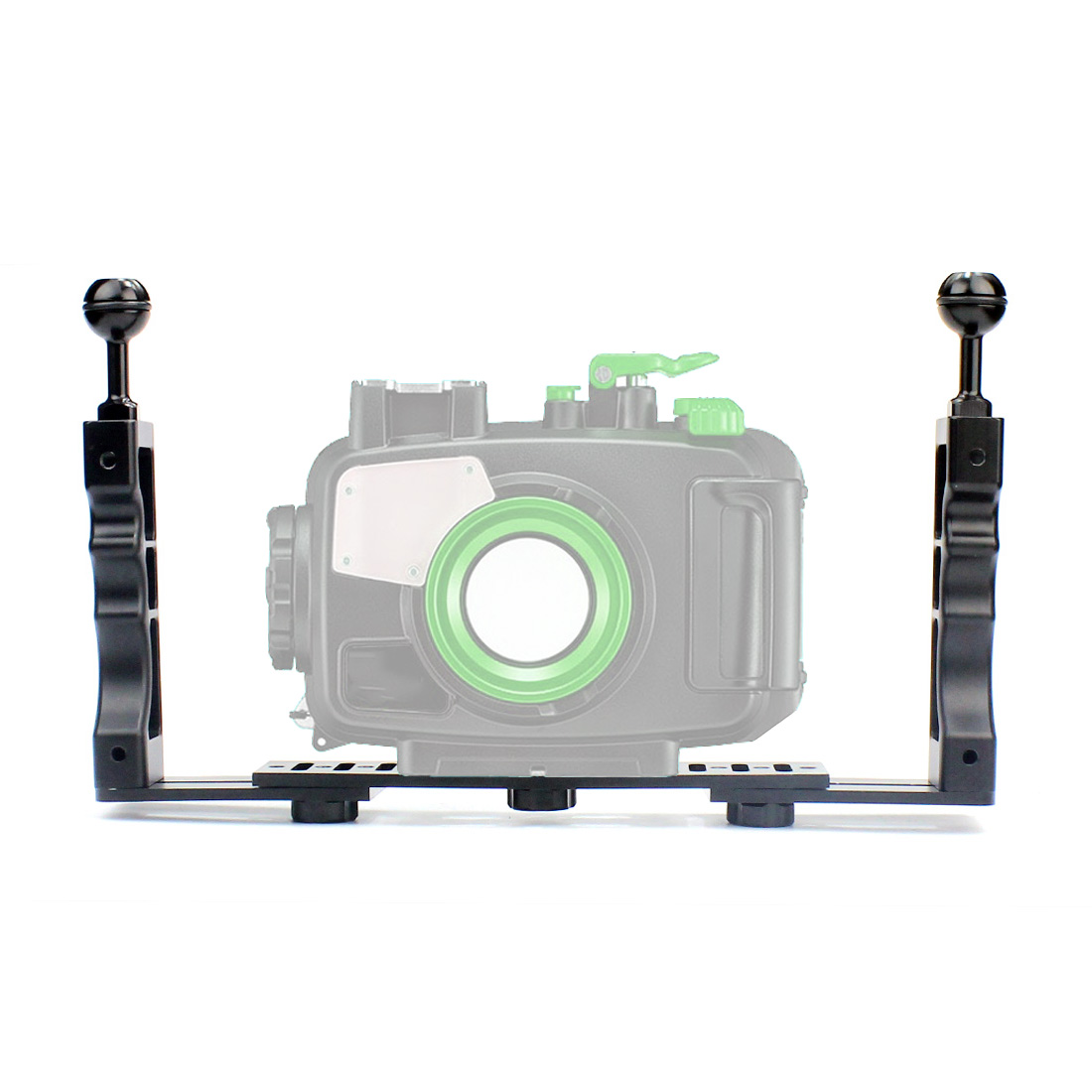 Galleria fotografica Aluminum Alloy Underwater Tray Housings Arm for Gopro Action Camera Holder Double Grip Dive