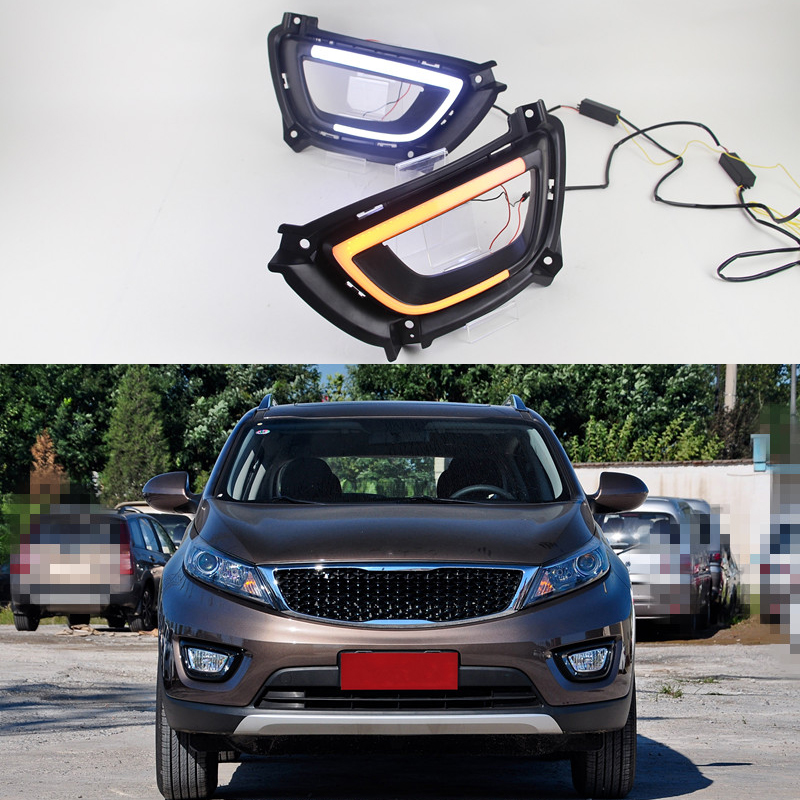 2Pcs LED DRL daytime running light with yellow turning lamps fog driving lights For Kia Sportage 2015