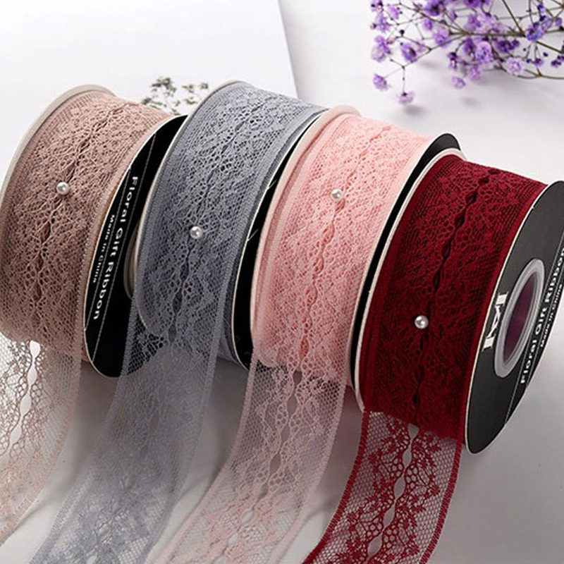 4.0cm lace ribbon floral packaging with diy handmade bow yarn with white 25 yards florist fabric lace