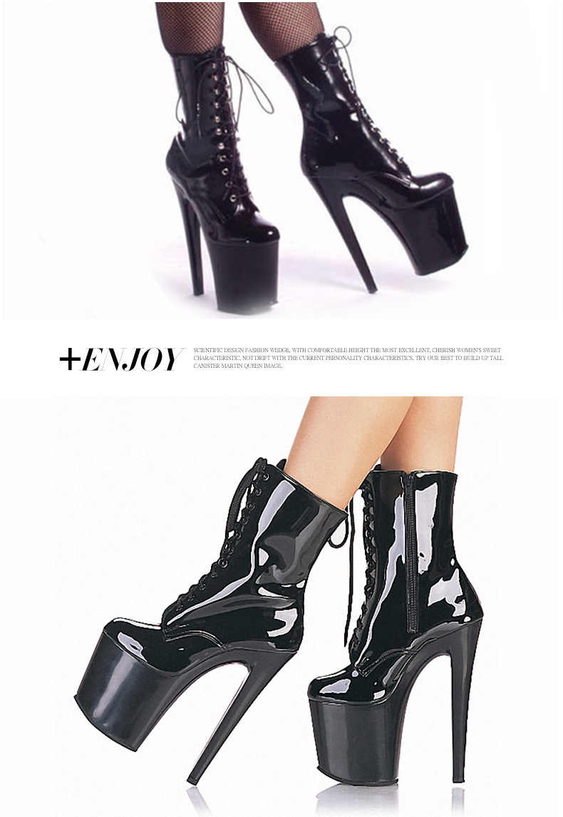... Kingmistres Black Patent Leather 20CM Extreme Fetish High Heels  Platform Boots Lace Up Pole Dancing Ankle ... 5097eeddd3cc