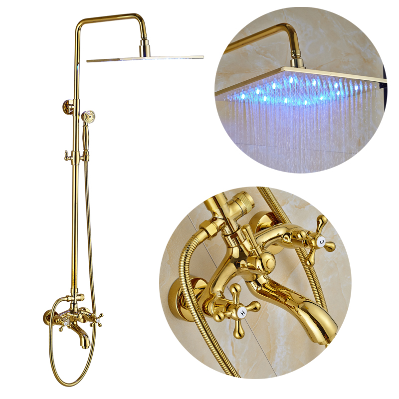 Golden 16 Rainfall LED Shower Head Swivel Spout Bathtub Mixer Tap with Hand Shower бумажник golden head портмоне 3331501