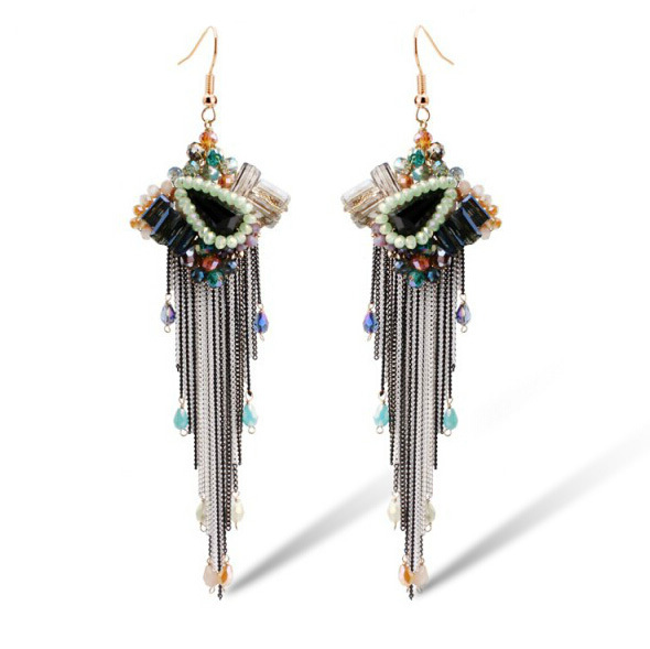 Brand Ethnic Vintage Crystal Tassel Long Earrings Brincos Bijoux Party Sexy Hanging Drop Earrings Boucles D'Oreilles Gift E260