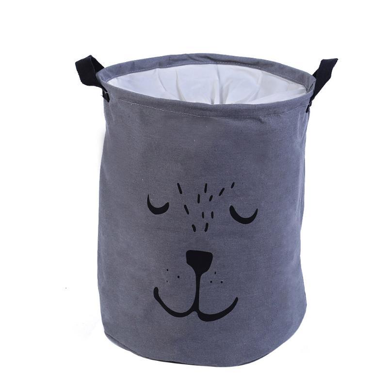 Cesta de lavandería cesta de almacenamiento organización plegable juguete escritorio algodón lino con mango ropa sucia varios cesta de almacenamiento