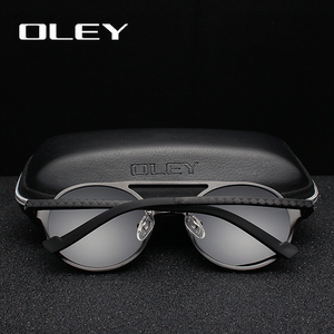 Image 2 - OLEY Brand New Men Round Aluminum Magnesium Polarized Sunglasses Fashion Retro Women Sun Glasses Anti glare Unisex Goggles