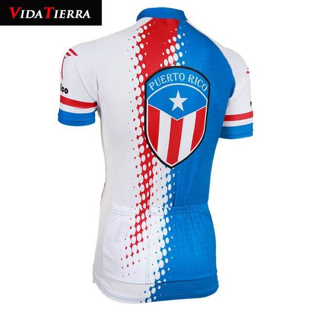new style b71cb c35da VIDATIERRA 2019 Cycling Jersey men red blue Puerto Rico summer cool  Clothing Bike national flag team