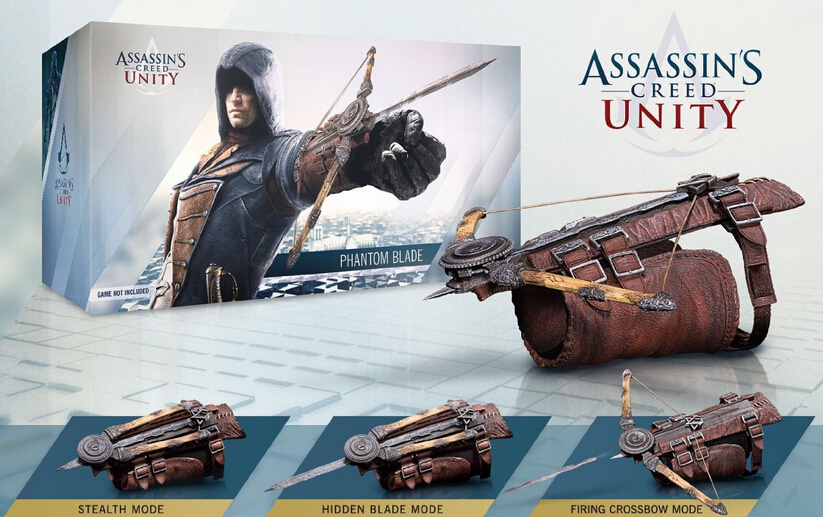 Volume order 10pcs 5generatioin ASSASSINS CREED UNITY Cosplay property sword pvc figure toy with box via EMS. pc assassin s creed unity guillotine edition