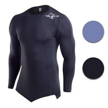 Men Fitness Long Sleeve T-shirt Black or Gray Quick Dry Basketball Jerseys  Tight Running fbbe35c22