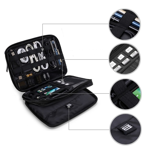 BAGSMART Portable Travel Organizer Bags Waterproof Double Layer Electronics Accessories Bags for Data Cable Fit in Pad Kindle