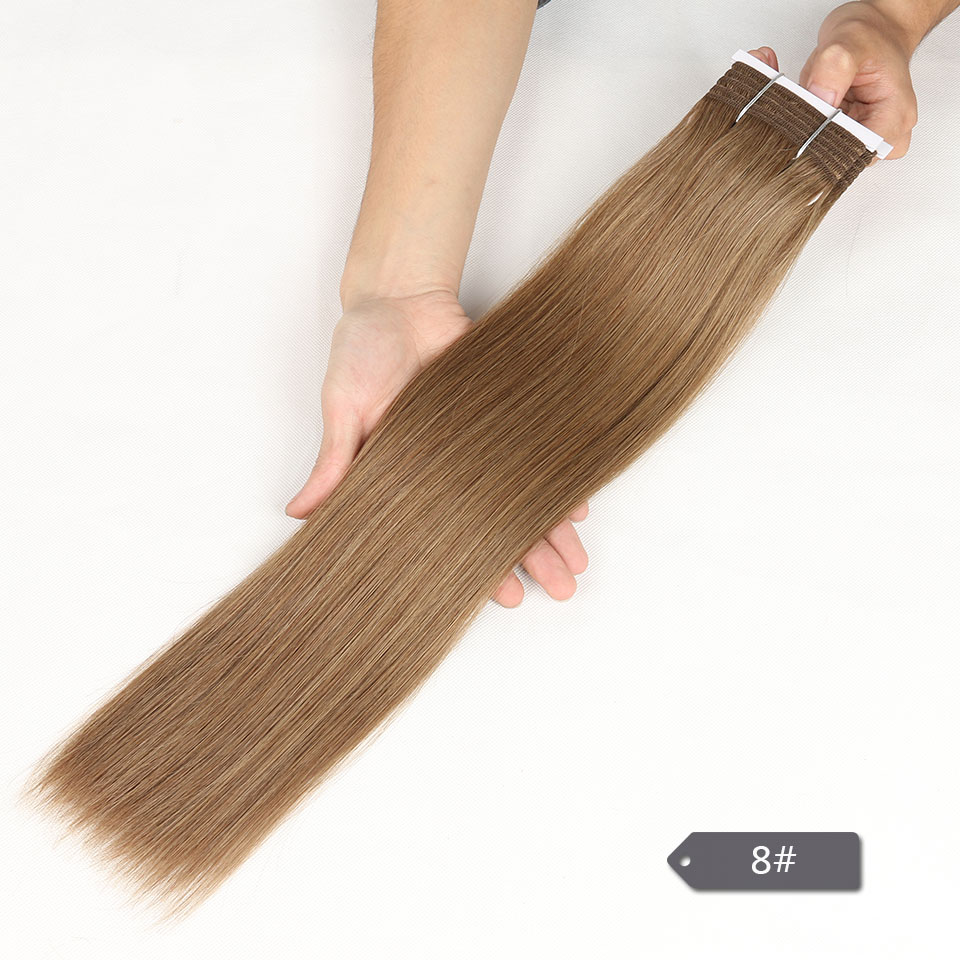 Image 4 - Sleek Double Drawn Brazilian Yaki Straight Human Hair Weave Bundles Remy Pure Color Brown Burgundy Red 99J Hair Bundles 113gHair Weaves   -