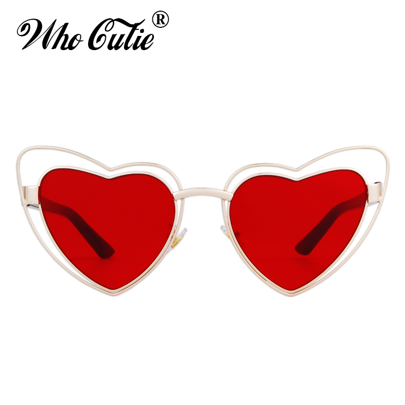 e37b419218b WHO CUTIE 2018 Love Heart Shape Sunglasses Women Wire Metal Frame Vintage  Retro Cat Eye Sun Glasses Red Pink Yellow Lens OM568-in Sunglasses from  Apparel ...