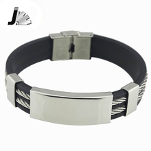 Hot Sale New 2016 Fashion Jewelry Black Silicone Mix Stainless Steel Personality Classic Men Bracelet Male Bangles GG231