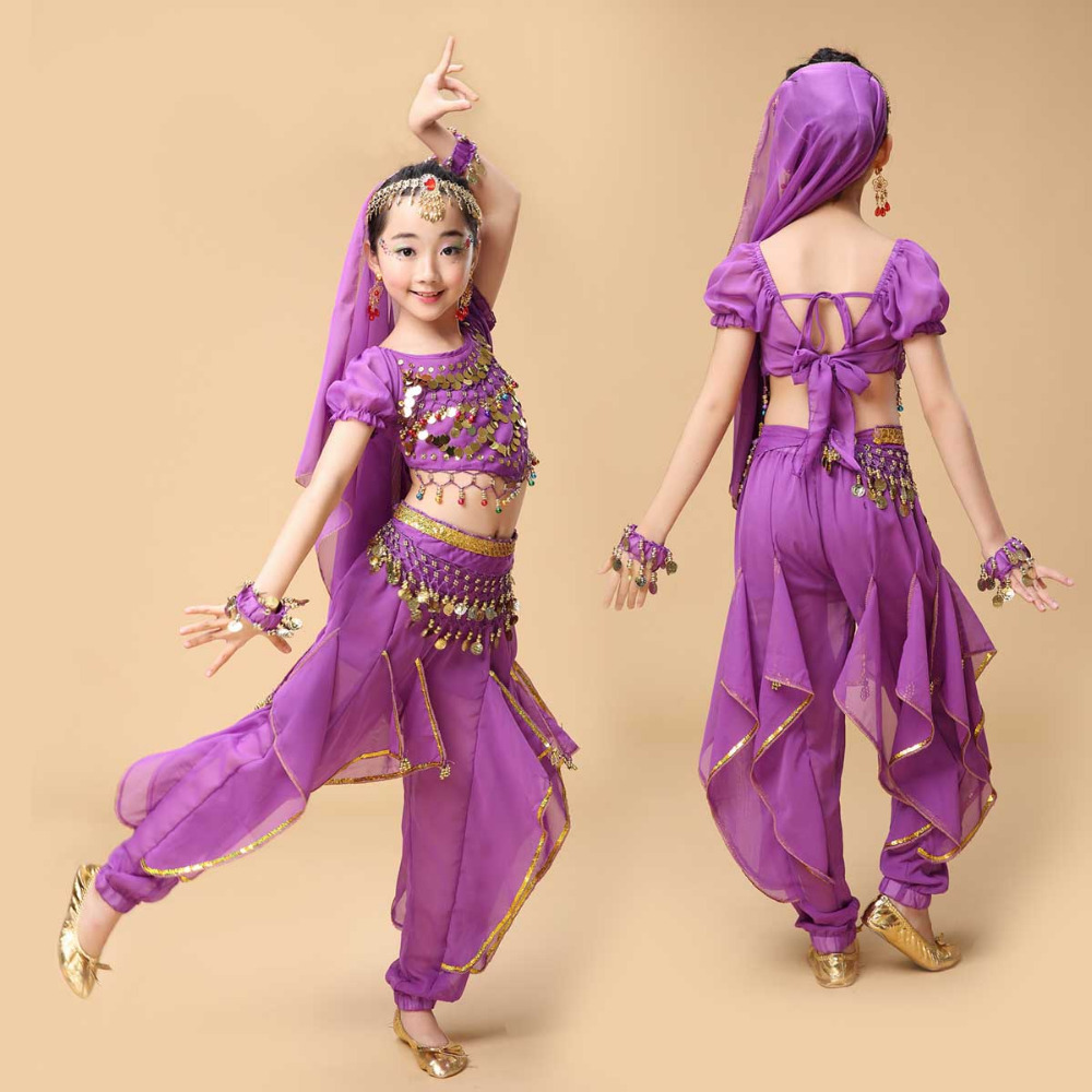 Nya Handgjorda Barn Mage Dansdräkter Kids Belly Dancing Girls Bollywood Indian Performance Dance Cloth 8 Colors