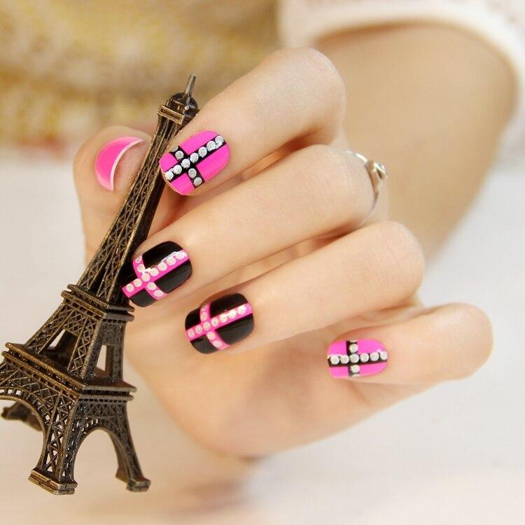 Black pink cross false nail art decoration manicure tips,false nails ...