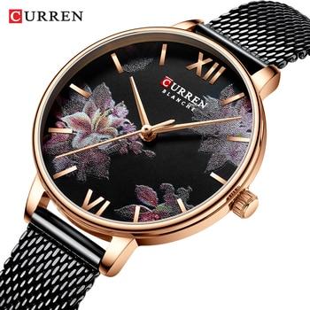 CURREN 2019 Elegant Lady Watches Flower Slim Black Mesh Steel Band Bracelet Rose Gold Quartz Waterproof Women Fashion Wristwatch