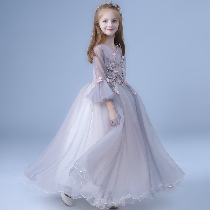 a1198249d42f7 Elegant Girls Dresses for 4 6 8 10 12 14 16 Years Flare Sleeve Flower Pink  Red Evening Party Dress Kids Princess Costume 7A4A
