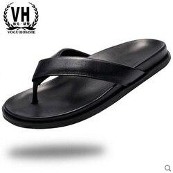 Masculino chinelos de couro genuíno dos homens de todos os jogo do couro sandálias de verão lazer sapatos Sapatilhas dos homens Chinelos Chinelos de praia ao ar livre casul