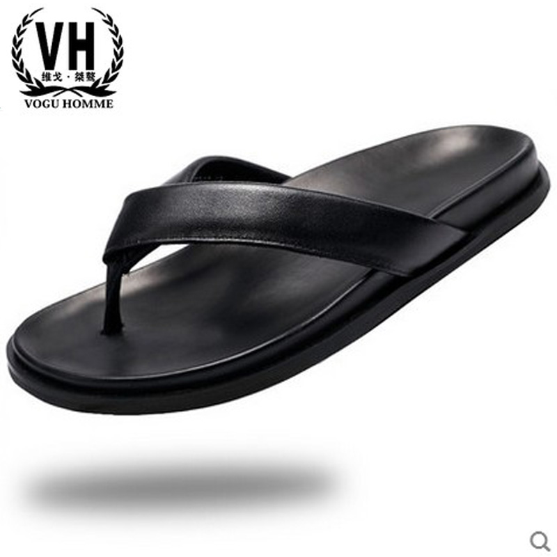 male genuine leather slippers men all-match cowhide sandals men's summer leisure shoes Sneakers Flip Flops beach outdoor casul