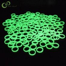 20 шт./лот, ювелирные светящиеся кольца, флуоресцентные ювелирные изделия, милые пластиковые светится в темноте, кольцо на палец, вечерние кольца на Хэллоуин, WYQ