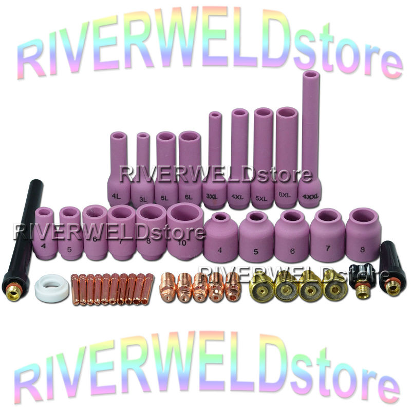 TIG Gas Lens KIT Back Cap Collet Body Fit TIG Welding Torch SR WP 9 20 25,43pcs tig 26 wp 26 wp26 wp 26 tig 26 tig welding torch dinse connection quick connector gas electric seperated 4m