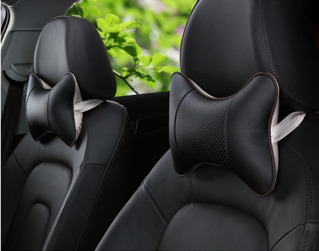 2 Pieces PU Leather Car Seat Breathable Headrest Neck Protect Cover Styling
