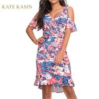 Women Floral V Neck Summer Dresses Short Sleeves Ruffles Slim Cold Shoulder Surplice Wrap Elegant Bodycon