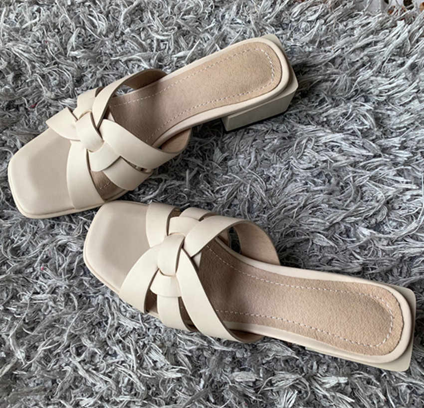 2020 yeni kadın terlik pu deri 4.2cm kare topuklu terlik burnu açık kadın sandalet pembe mavi sarı bayanlar rahat ayakkabılar kadın