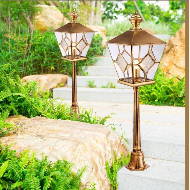 Garden large standing Pillar Lamp Square Gate copper Pillar Light Courtyard Waterproof outdoor Landscape light park lawn lights