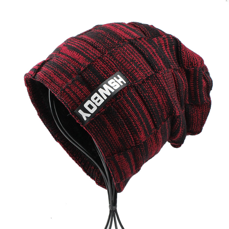 ... Mens hat winter skullies knitted wool hat plus velvet hip hop cap gorro  ... a7d800c5154