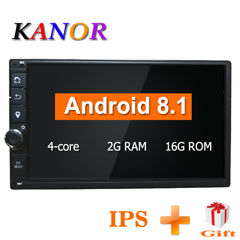 KANOR Quad Core RAM 2G ROM 16G 2 Din Android 8.1 Universal Car Audio Stereo Radio With GPS WiFi GPS Navigation Video MultimediaKANOR Quad Core RAM 2G ROM 16G 2 Din Android 8.1 Universal Car Audio Stereo Radio With GPS WiFi GPS Navigation Video Multimedia