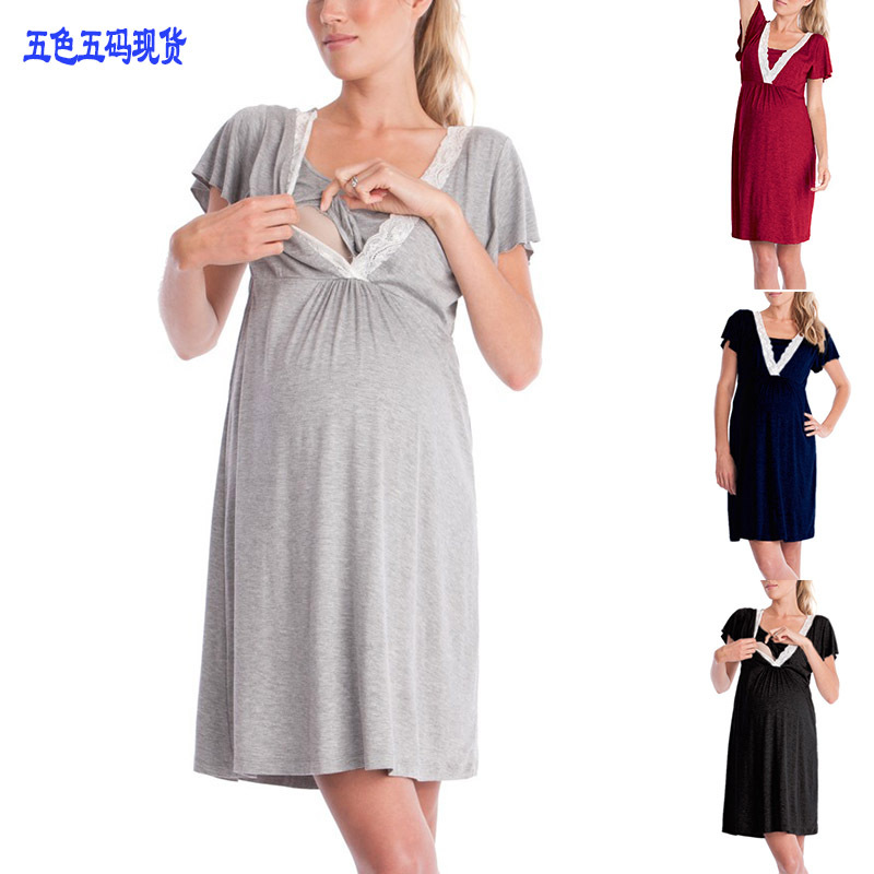 Home Suit Lace Sleepwear For Pregnant Woman Cotton Maternity Night Dress Short Sleeve Nursing Nightgown Breastfeeding Home Wear