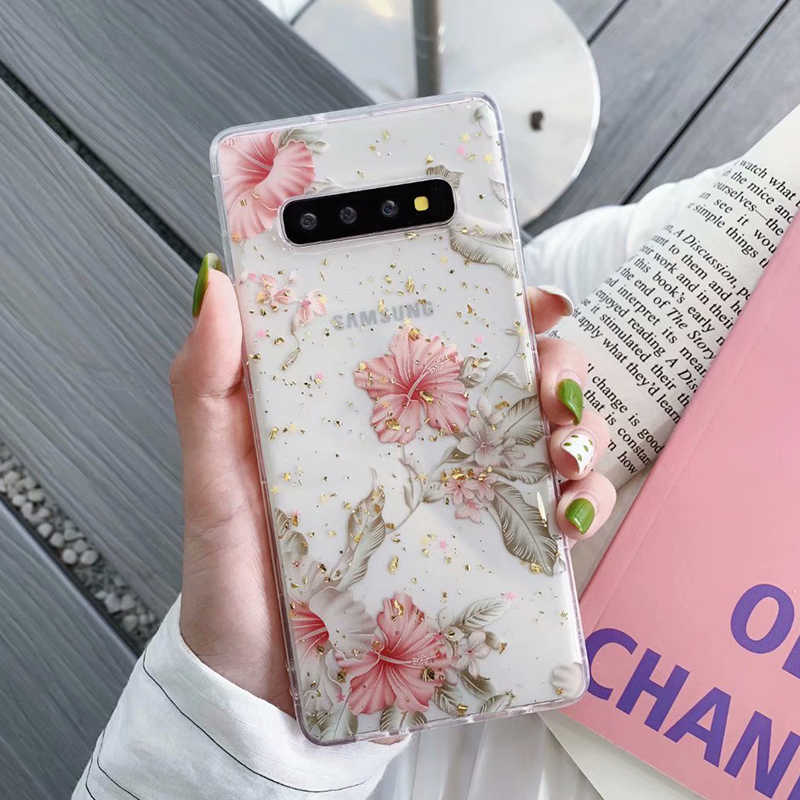 YHBBCASES For Samsung Galaxy S9 S10 Plus Retro Blooming Flowers Clear TPU Soft Cover For Samsung Note 10 9 Bling Gold Foil Case