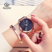 Women's Watches Ladies Watch 2018 GUOU Fashion Rose Gold Bracelet Watches For Women Rhinestone Clock Women reloj mujer saat