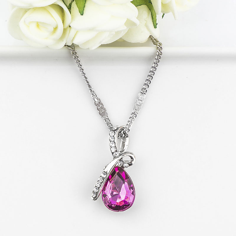 MISANANRYNE Fashion 10 Colors Austrian Crystal Water Drop Pendants&Necklaces Chain Necklace Fashion Jewelry For Women 6